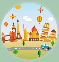 Travel and tourism background and landscape vector image