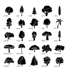 Tree types icons set simple style vector