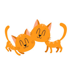 two cute and funny sweet red cat characters vector image