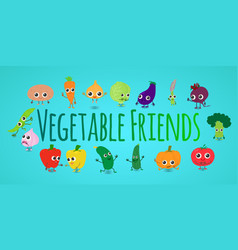 vegetable friends concept banner cartoon style vector image