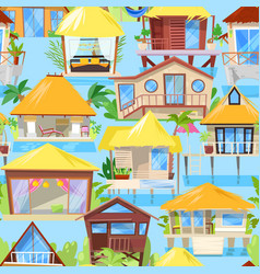 Villa facade of house building and tropical vector