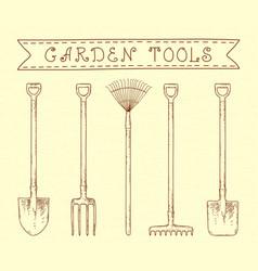 vintage garden tools vector image