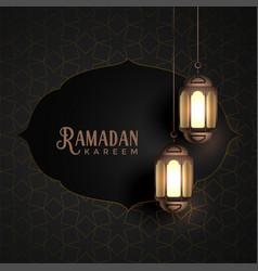 Vintage ramadan kareem design with hanging vector