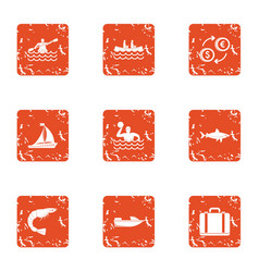 Water swim icons set grunge style vector