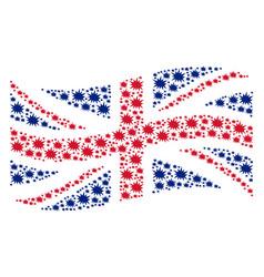 Waving united kingdom flag pattern of bang icons vector
