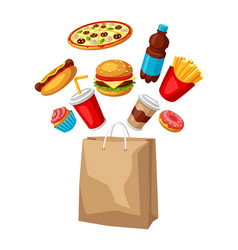 with fast food meal tasty fastfood vector image
