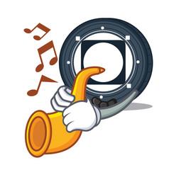 With trumpet byteball bytes coin mascot cartoon vector