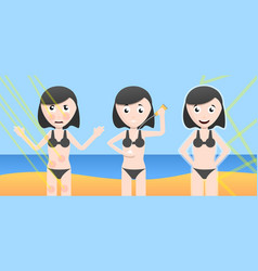 woman beach sun cream effect concept banner vector image
