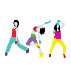 Breakdancing Girl Silhouettes vector image