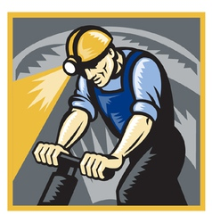 coal miner drilling vector image