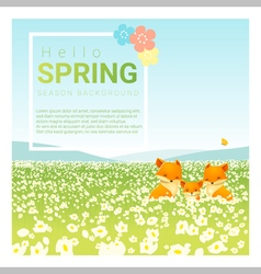 Hello spring landscape background with fox family vector image vector image