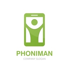 man and phone logo concept vector image vector image