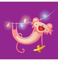 Monkey hanging on garland vector image vector image