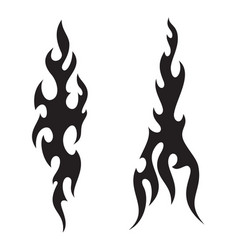tattoo fire flames black white silhouette vector image vector image