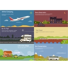 Traveling by airplane and car train bus vector image vector image
