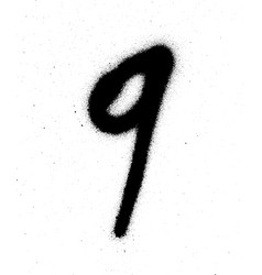 graffiti sprayed number 9 nine in black on white vector image vector image