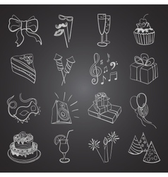 hand-drawn party icon set vector image vector image
