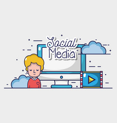 man with social media element to connect vector image