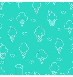 White line ice cream icons vector image