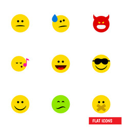flat icon face set of displeased hush frown and vector image