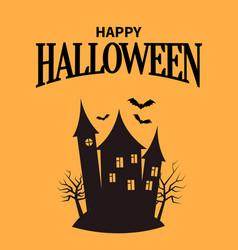 Happy halloween poster with closeup creepy house vector