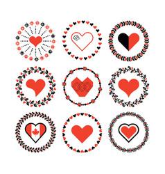 set of circle border decorative hearts symbol vector image vector image
