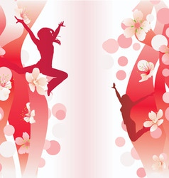 vector jumping women on red flowers backdrop vector image vector image