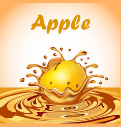 a splash of juice from a falling apple and a drop vector image vector image