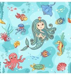 Seamless pattern with mermaid princess vector image