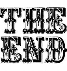 vintage the end lettering vector image