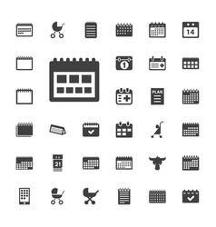 33 calendar icons vector