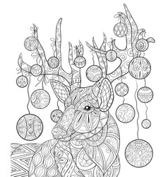 adult coloring bookpage a christmas deer with vector image