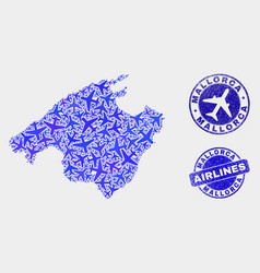 Airlines mosaic mallorca map and grunge vector