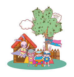 animals friends wearing costumes in the farm house vector image