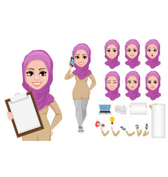 Arabic business woman cartoon character creation vector
