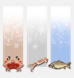 banners sea food set 2 vector image