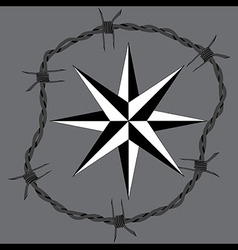 Barbed wire circle frame windrose navigation symbo vector image