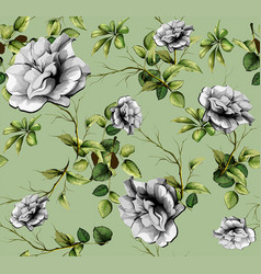 beautiful flower branches in green vector image