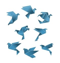 Blue paper pigeons and doves in origami style vector image