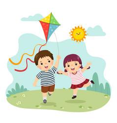 Boy and girl flying kite vector