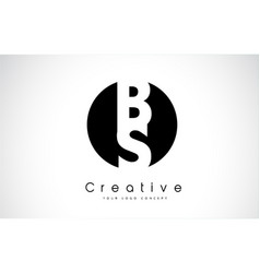 Bs letter logo design inside a black circle vector