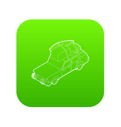 car with luggage and boxes icon green vector image