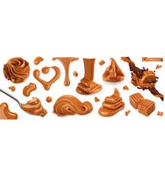 Caramel peanut butter 3d realistic set vector
