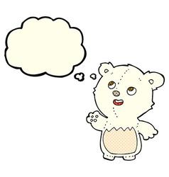 Cartoon happy little teddy polar bear with thought vector