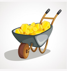 cartoon wheelbarrow with gold vector image