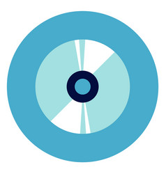 Cd disc icon on round blue background vector