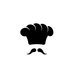 chef hat and moustache flat icon vector image