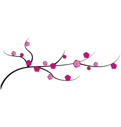 Cherry twig with flowers vector