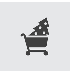 Christmas tree shopping icon vector image