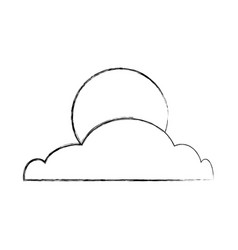 Cloud with moon isolated icon vector